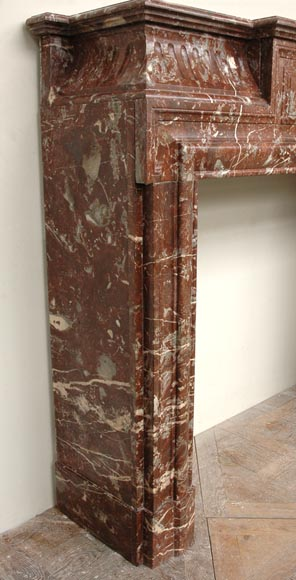 Antique Louis XIV style marble mantel with acroterion-5