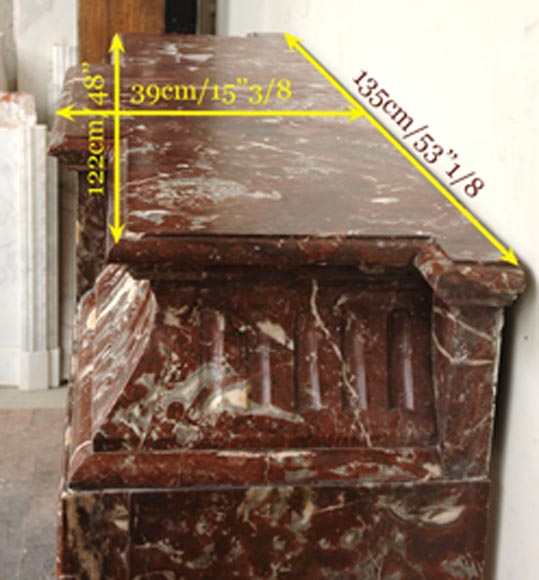 Antique Louis XIV style marble mantel with acroterion-7