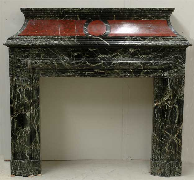 Antique hooded fireplace made out of Sea Green marble with Red