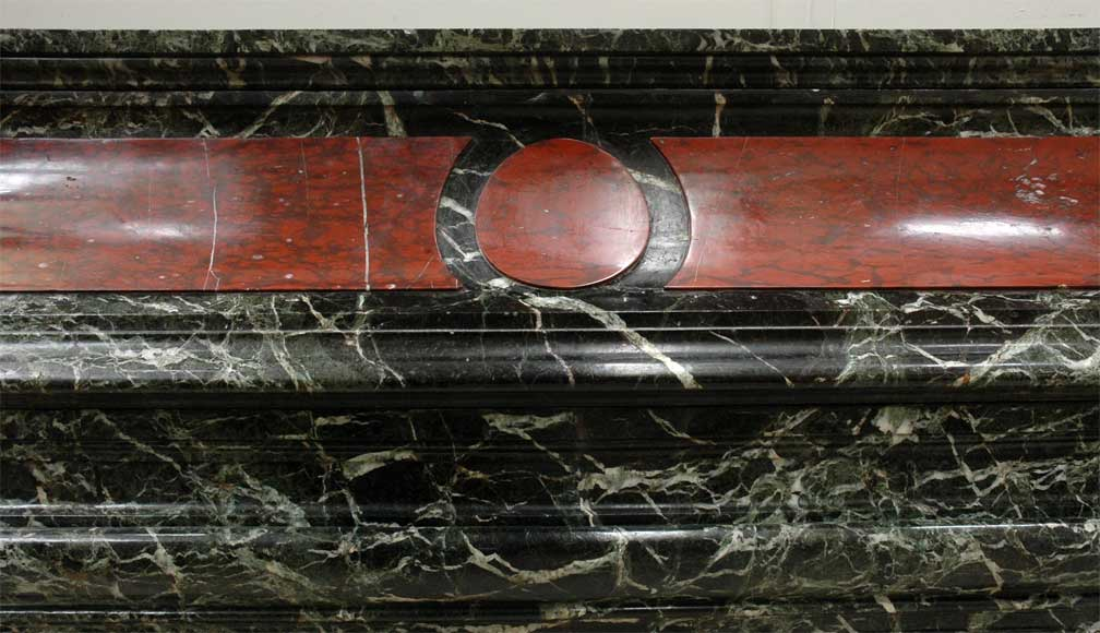 Antique hooded fireplace made out of  Sea Green marble with Red Griotte marble-1
