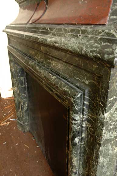 Antique hooded fireplace made out of  Sea Green marble with Red Griotte marble-2