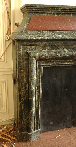 Antique hooded fireplace made out of  Sea Green marble with Red Griotte marble-3