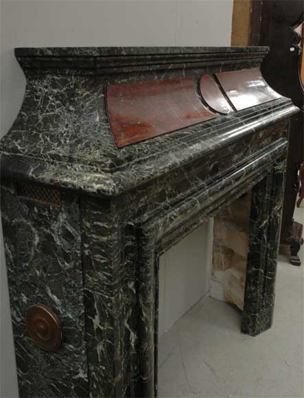 Antique hooded fireplace made out of  Sea Green marble with Red Griotte marble-4