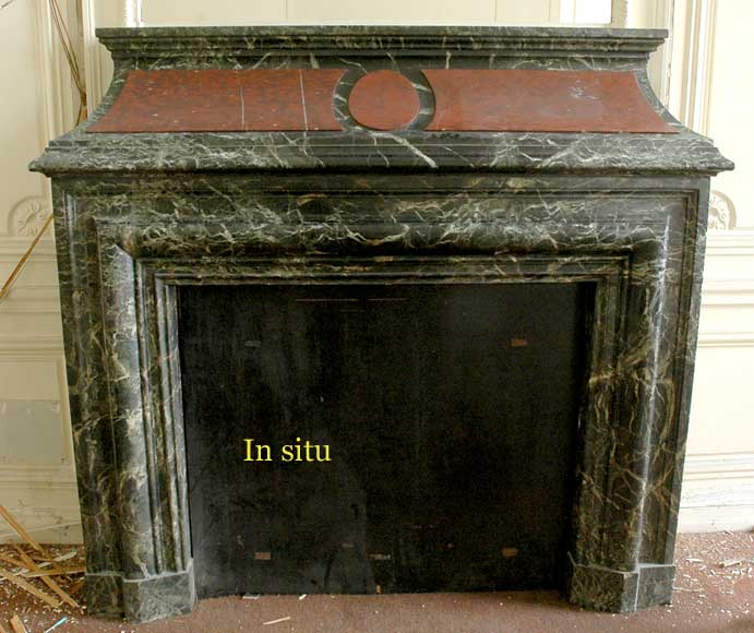 Antique hooded fireplace made out of  Sea Green marble with Red Griotte marble-7