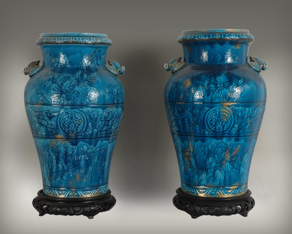 Longwy faience: pair of vases on a wood base-0