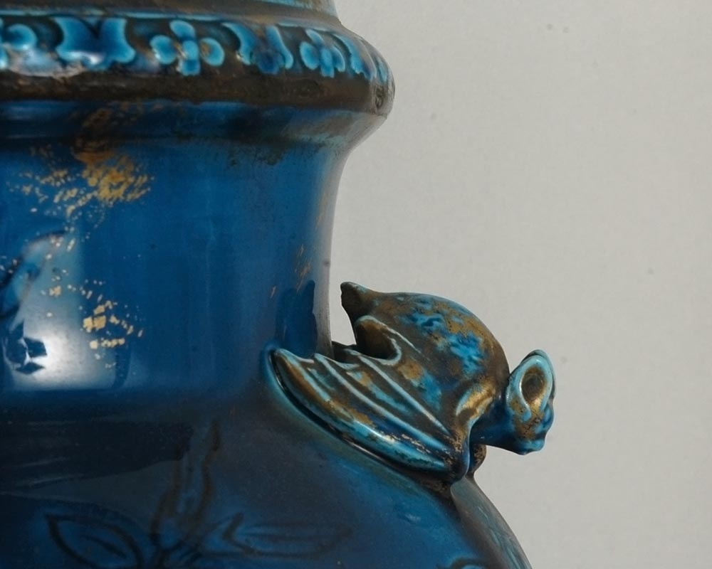 Longwy faience: pair of vases on a wood base-2