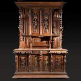 Large Neo-Troubadour buffet made out of carved walnut with bronze low-reliefs signed by Ferdinand Barbedienne