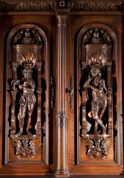 Large Neo-Troubadour buffet made out of carved walnut with bronze low-reliefs signed by Ferdinand Barbedienne-1