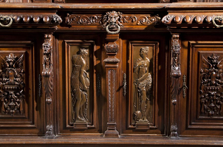 Large Neo-Troubadour buffet made out of carved walnut with bronze low-reliefs signed by Ferdinand Barbedienne-5