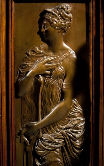 Large Neo-Troubadour buffet made out of carved walnut with bronze low-reliefs signed by Ferdinand Barbedienne-6