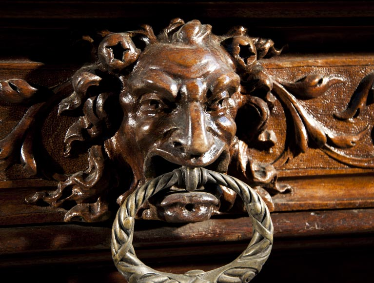 Large Neo-Troubadour buffet made out of carved walnut with bronze low-reliefs signed by Ferdinand Barbedienne-9