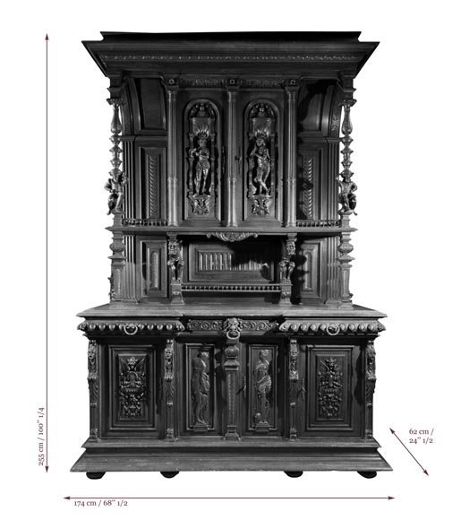 Large Neo-Troubadour buffet made out of carved walnut with bronze low-reliefs signed by Ferdinand Barbedienne-12