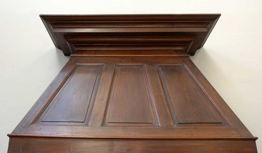 Antique Walnut hooded mantel from the 19th century-1