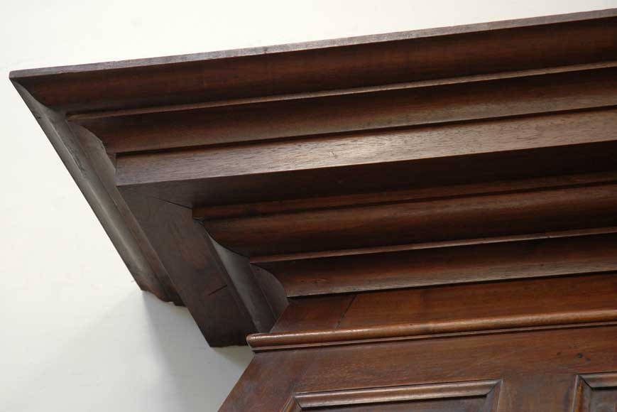 Antique Walnut hooded mantel from the 19th century-2