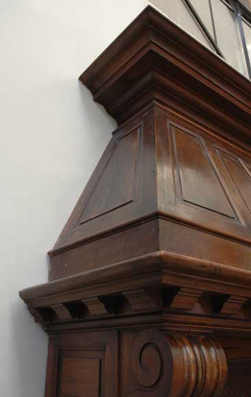 Antique Walnut hooded mantel from the 19th century-3