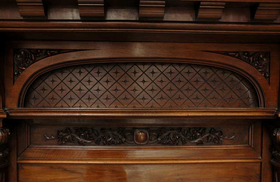 Antique Walnut hooded mantel from the 19th century-5