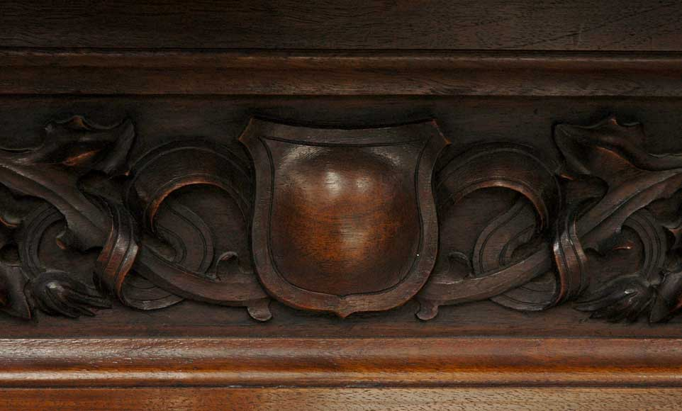 Antique Walnut hooded mantel from the 19th century-7