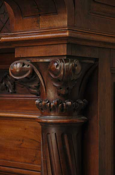 Antique Walnut hooded mantel from the 19th century-9