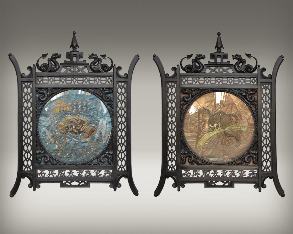 Pair of Japanese-blackened wooden frames decorated with embroidered silk-0