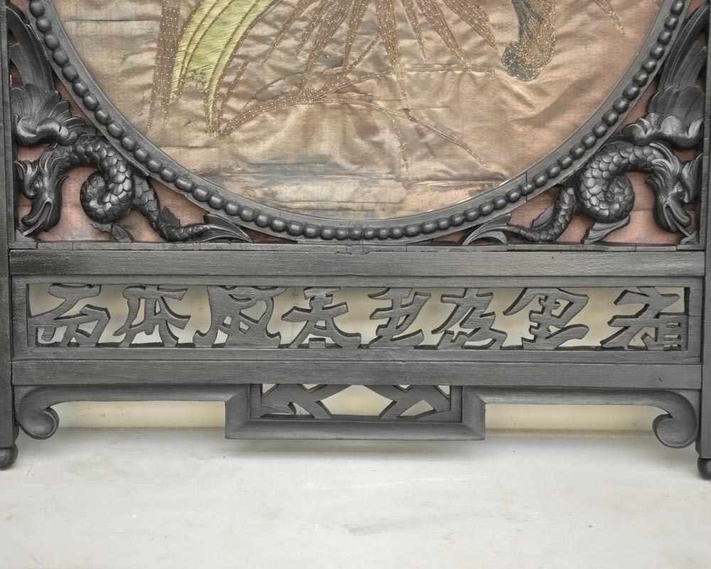Pair of Japanese-blackened wooden frames decorated with embroidered silk-9