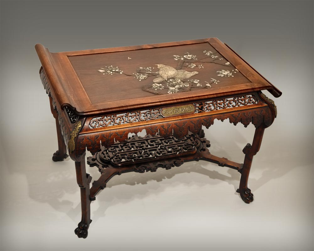 Japanese-style table with partridge-0