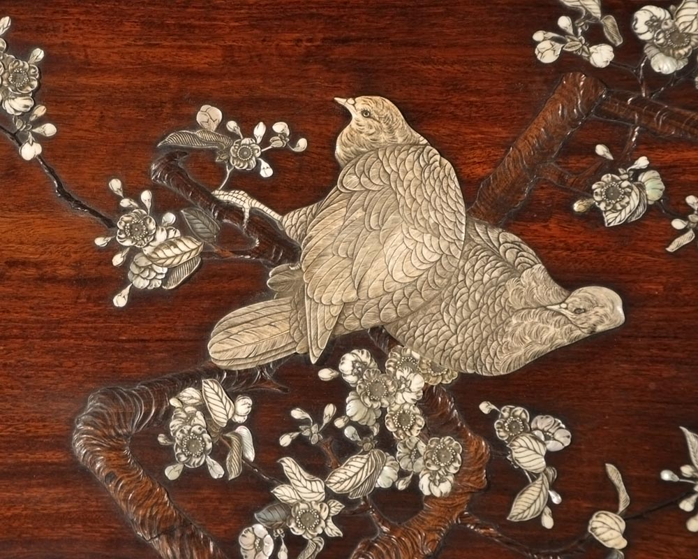 Japanese-style table with partridge-2