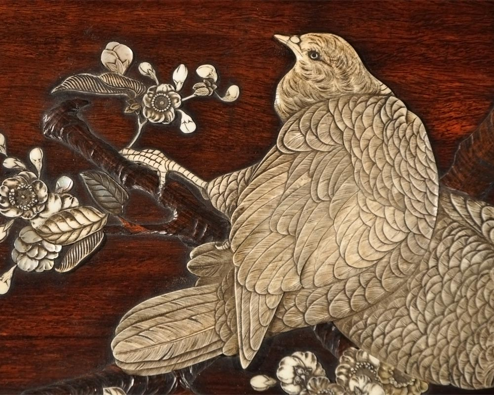Japanese-style table with partridge-3