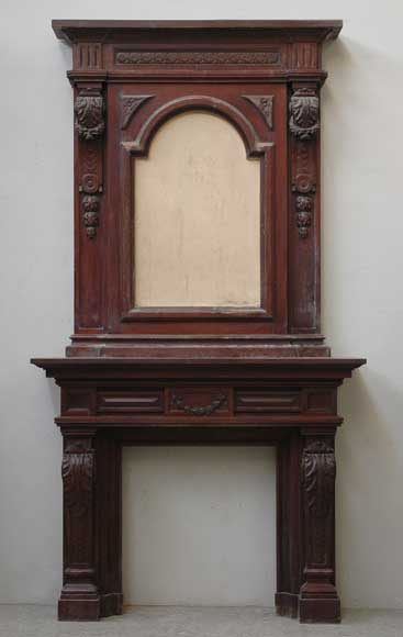 Antique mahogany mantel piece with overmantel wood - Fireplace mantel piece ...