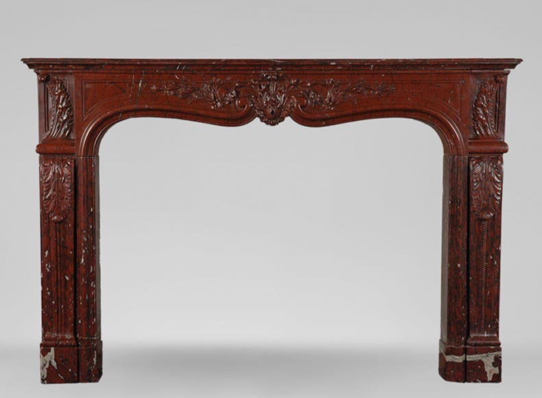 19th Century red Griotte marble mantel-0