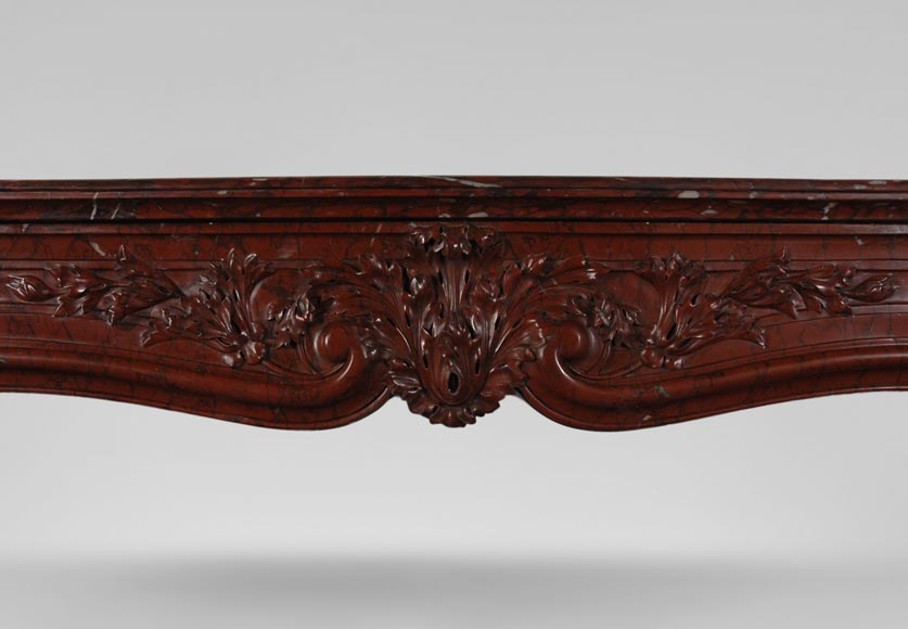 19th Century red Griotte marble mantel-1