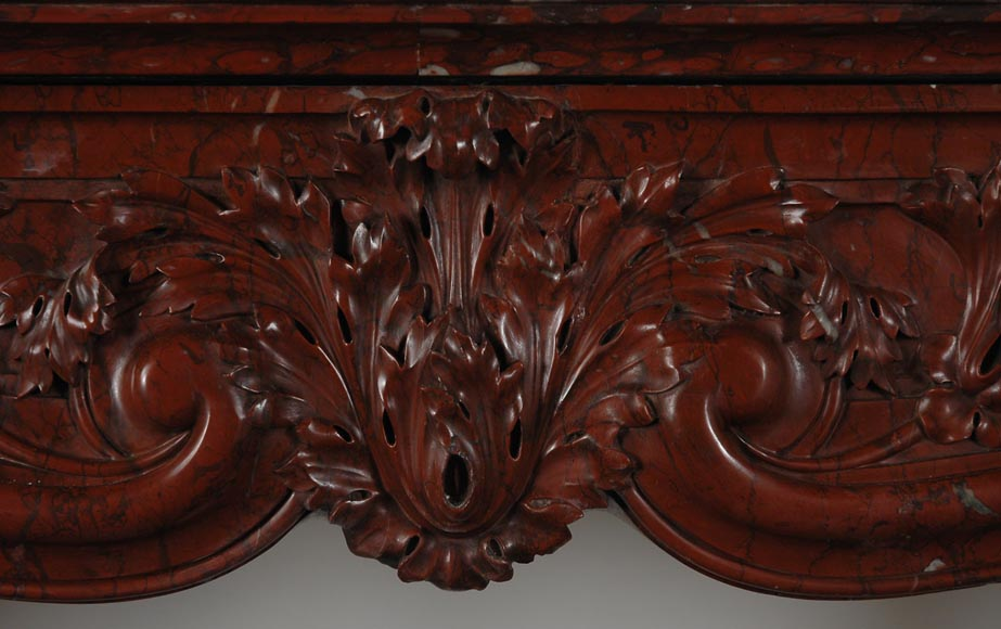 19th Century red Griotte marble mantel-2