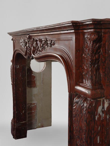 19th Century red Griotte marble mantel-7