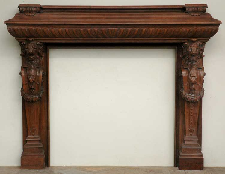 Antique mahogany mantel with lion heads-0