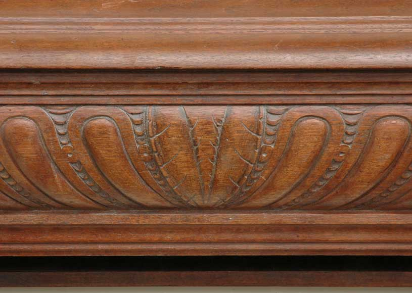 Antique mahogany mantel with lion heads-1