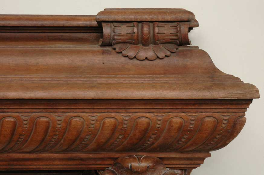 Antique mahogany mantel with lion heads-2