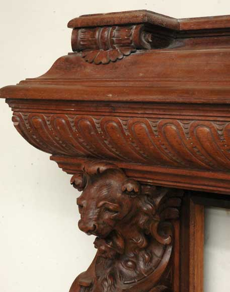 Antique mahogany mantel with lion heads-3