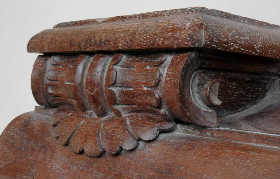 Antique mahogany mantel with lion heads-4