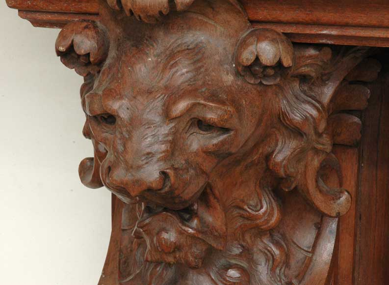 Antique mahogany mantel with lion heads-5