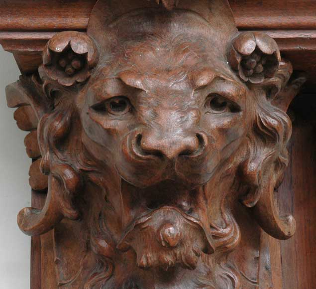 Antique mahogany mantel with lion heads-6