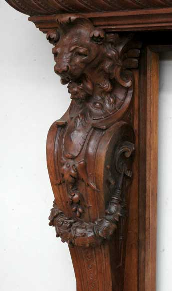 Antique mahogany mantel with lion heads-7