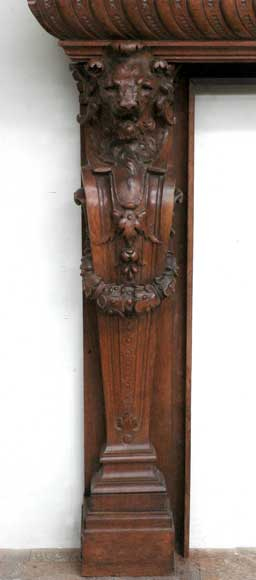 Antique mahogany mantel with lion heads-9