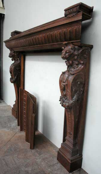 Antique mahogany mantel with lion heads-10