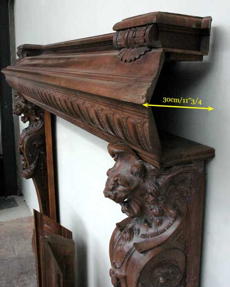 Antique mahogany mantel with lion heads-12
