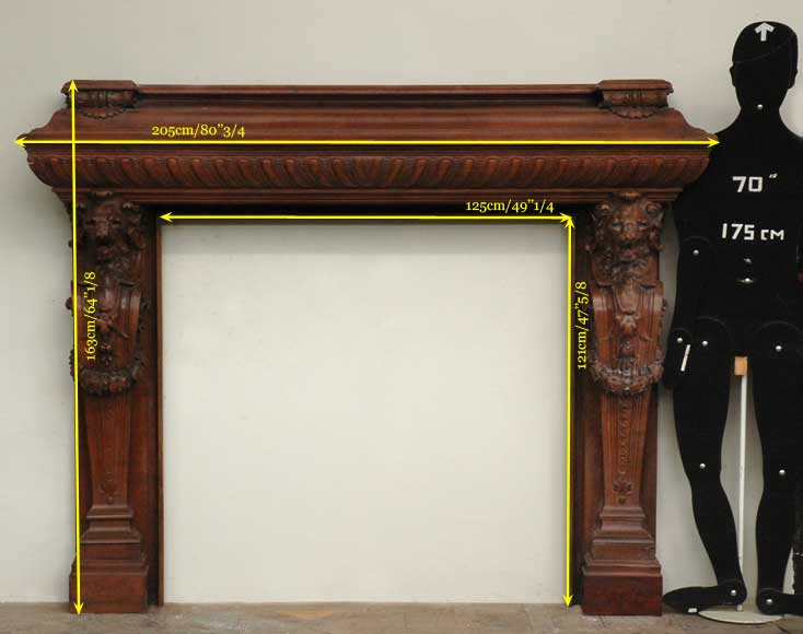 Antique mahogany mantel with lion heads-13