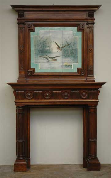 Antique walnut mantel with ceramic from the 19th century-0