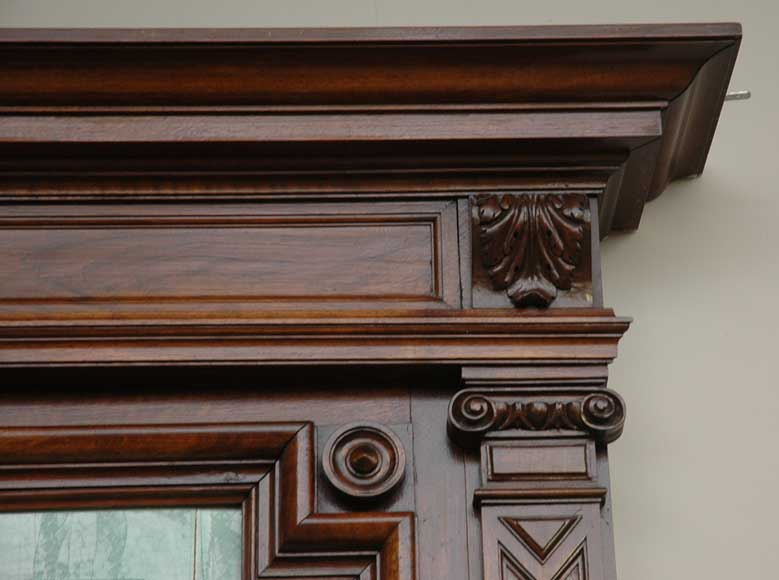 Antique walnut mantel with ceramic from the 19th century-3