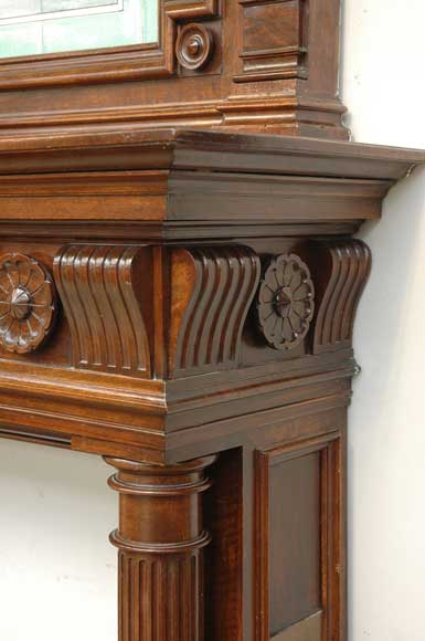 Antique walnut mantel with ceramic from the 19th century-4