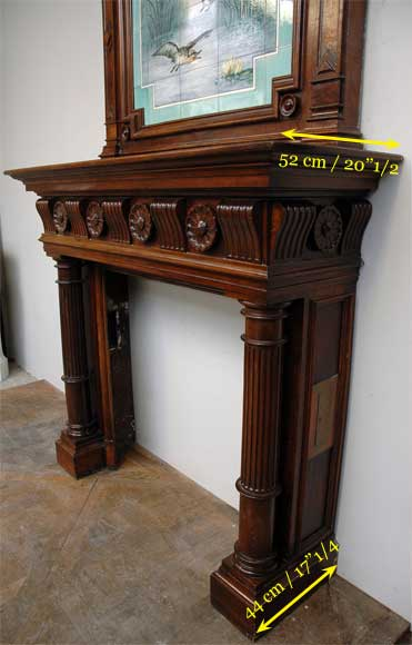 Antique walnut mantel with ceramic from the 19th century-5