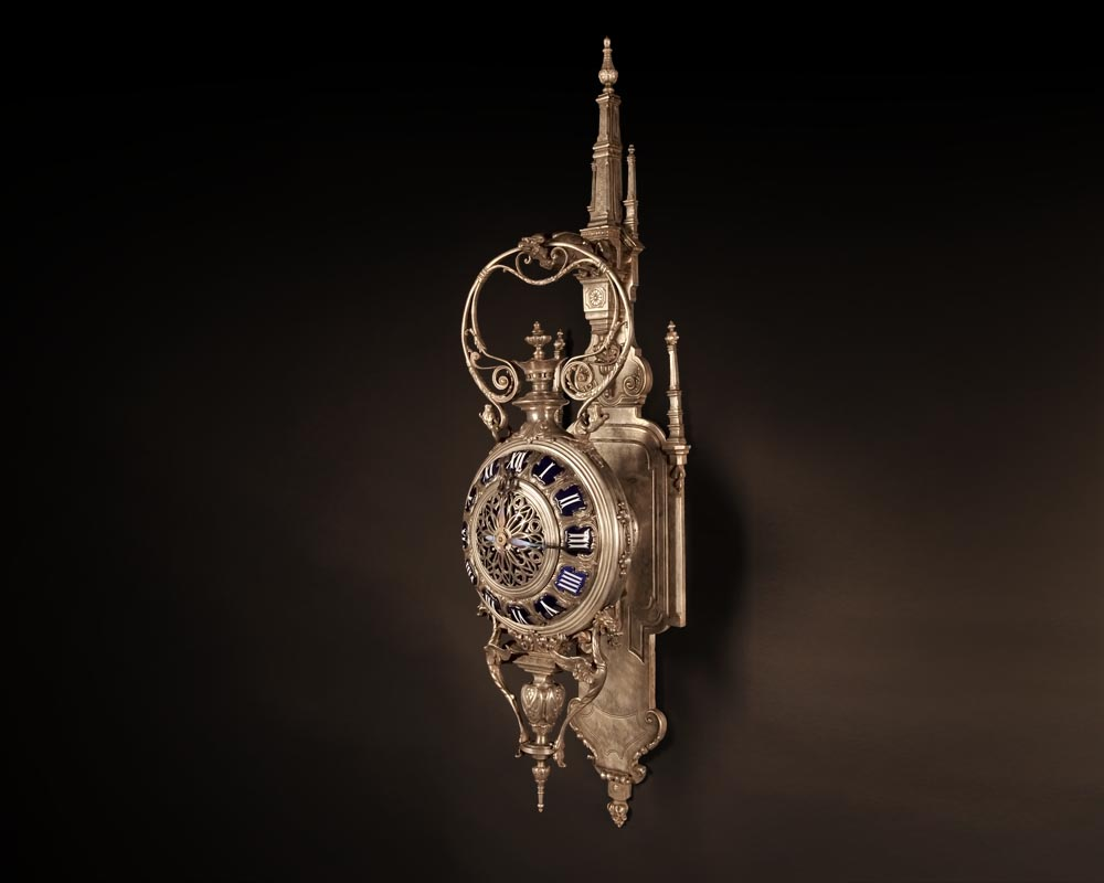 MARCHAND Léon and PIAT Frédéric-Eugène, Elegant silvered bronze and enamel cartel clock in the neo-Gothic style-0