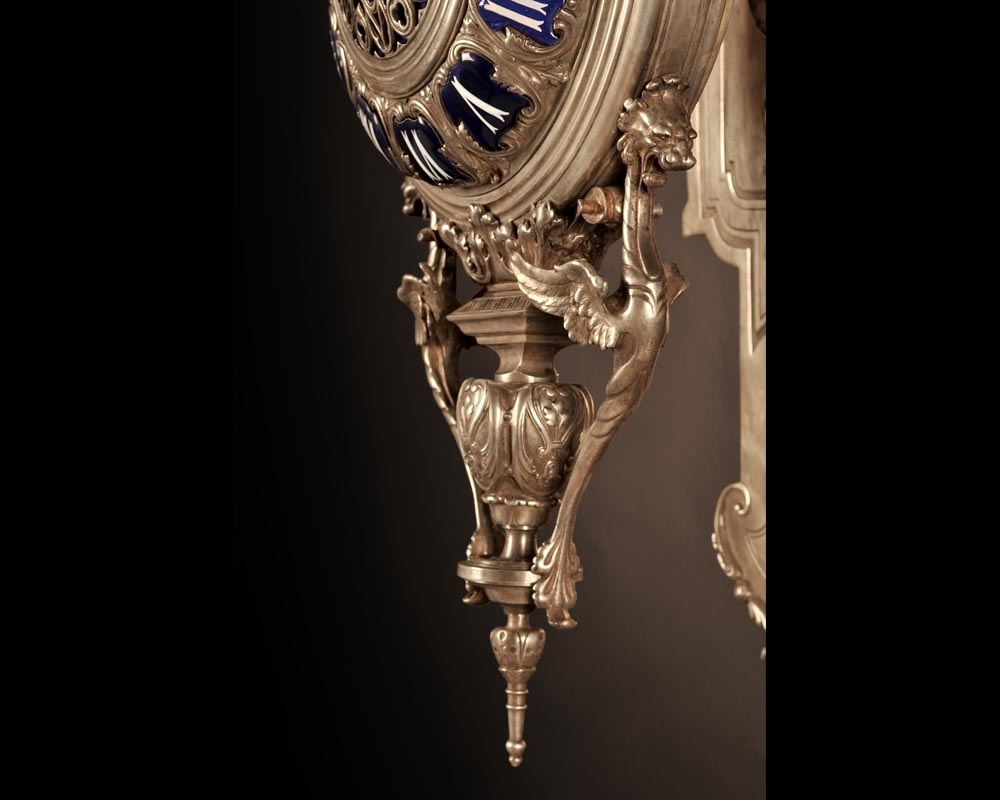 MARCHAND Léon and PIAT Frédéric-Eugène, Elegant silvered bronze and enamel cartel clock in the neo-Gothic style-2